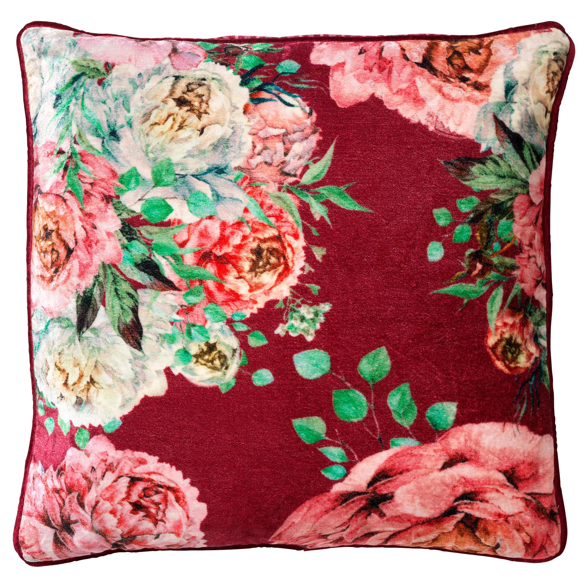 Housse de coussin en velours avec des fleurs Prune rouge 45x45