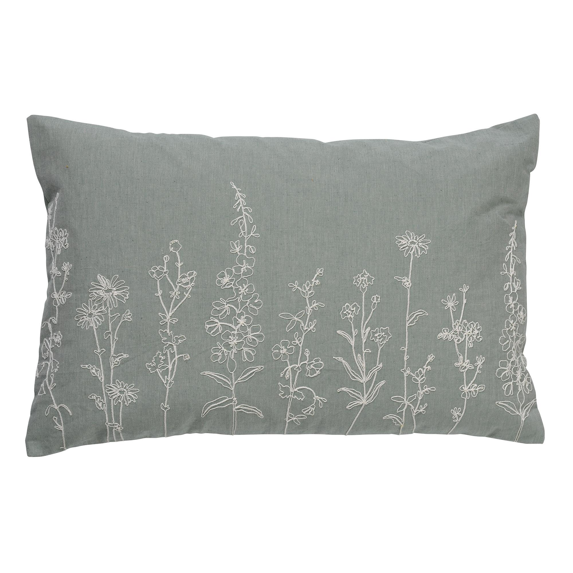 Housse de coussin en velours avec des fleurs Jade 40x60