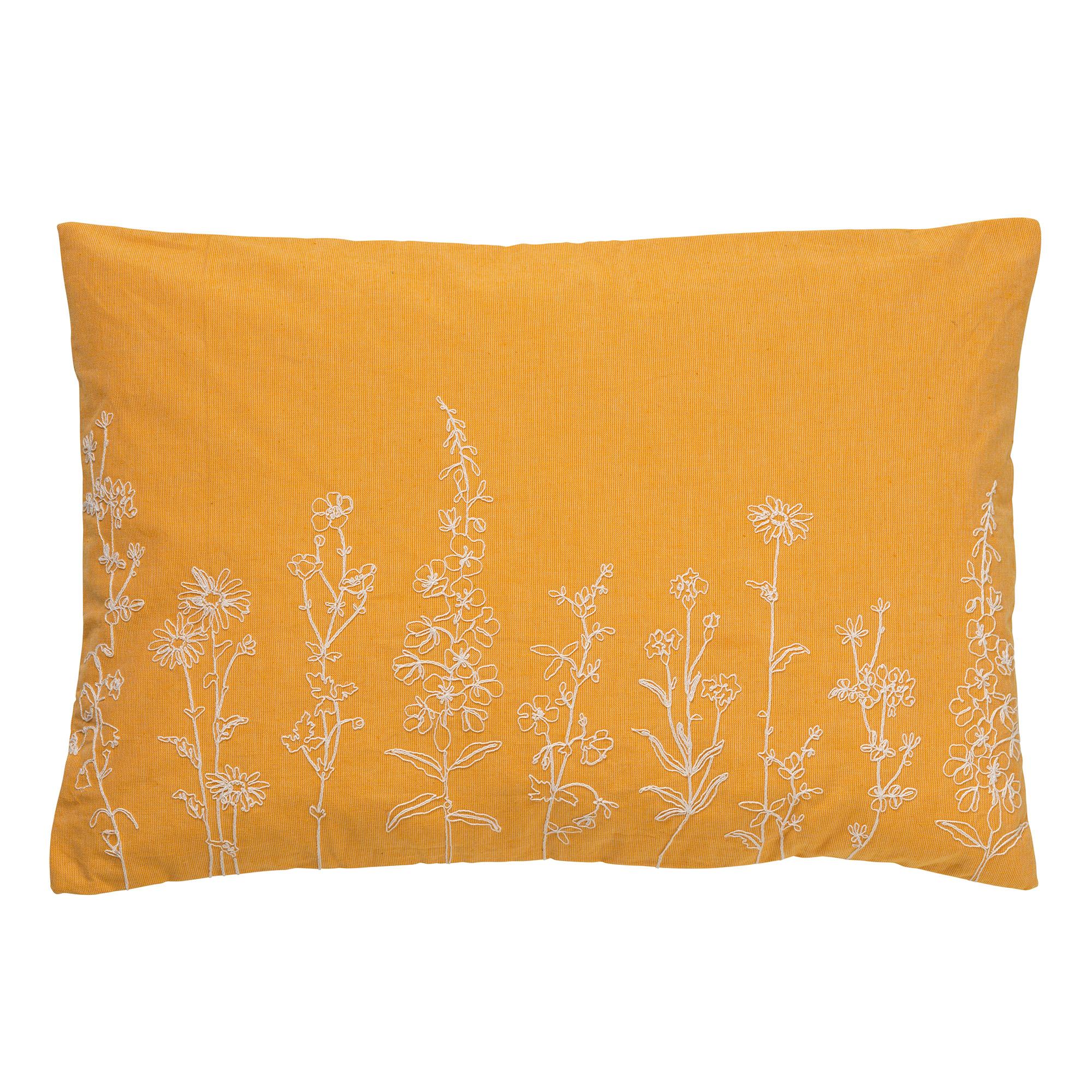 Housse de coussin en velours avec des fleurs Jaune moutarde 40x60