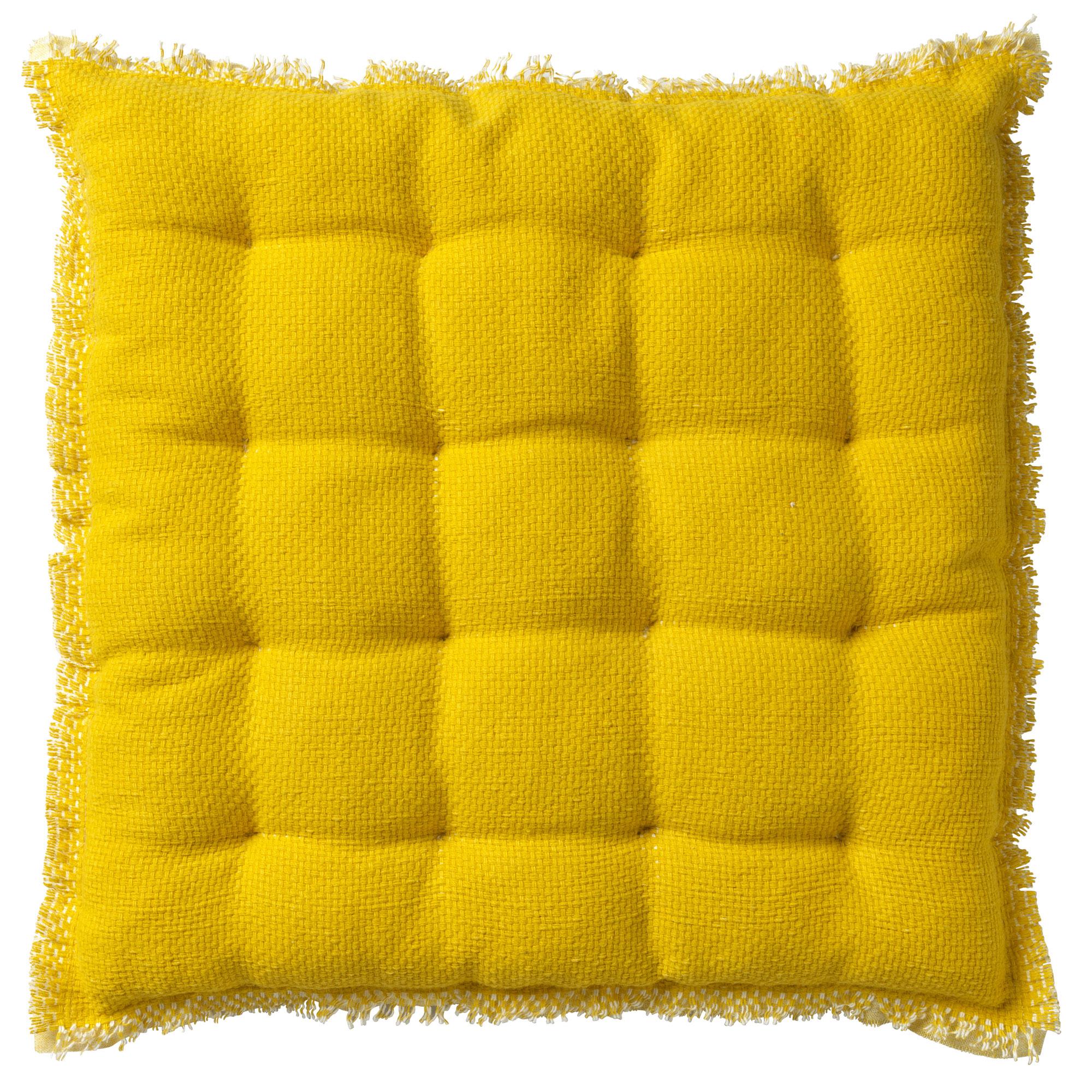 Coussin de sol en coton Jaune citron 40x40