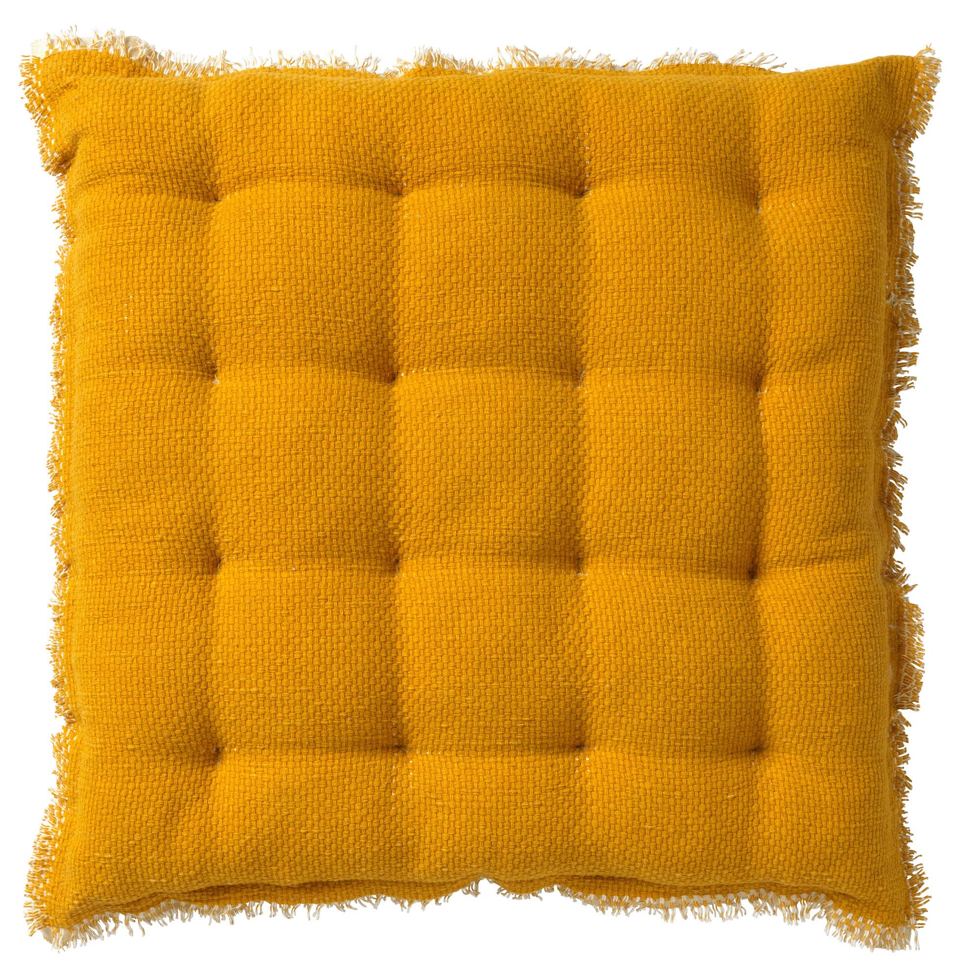 Coussin de sol en coton Jaune moutarde 40x40