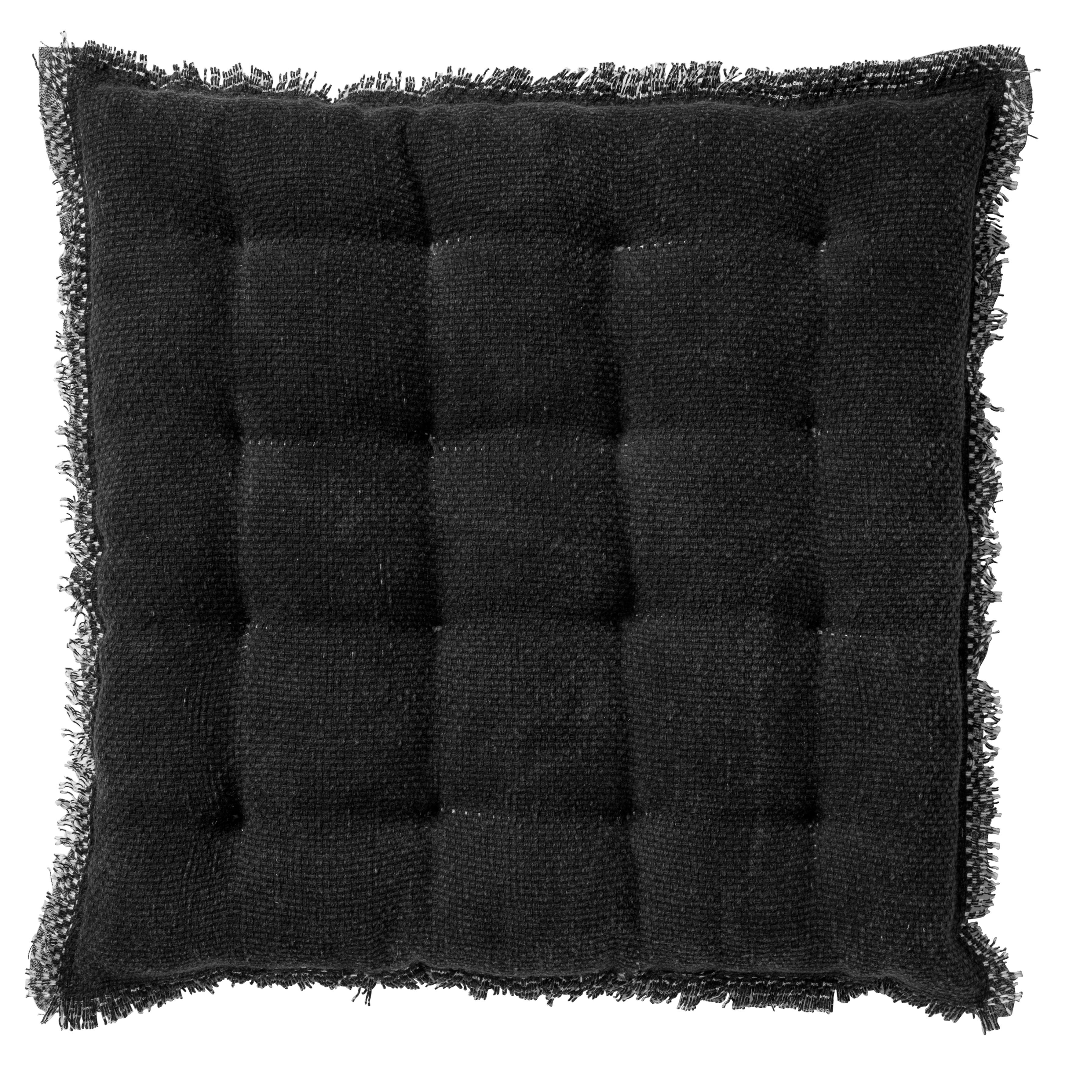 Coussin de sol en coton Noir 40x40