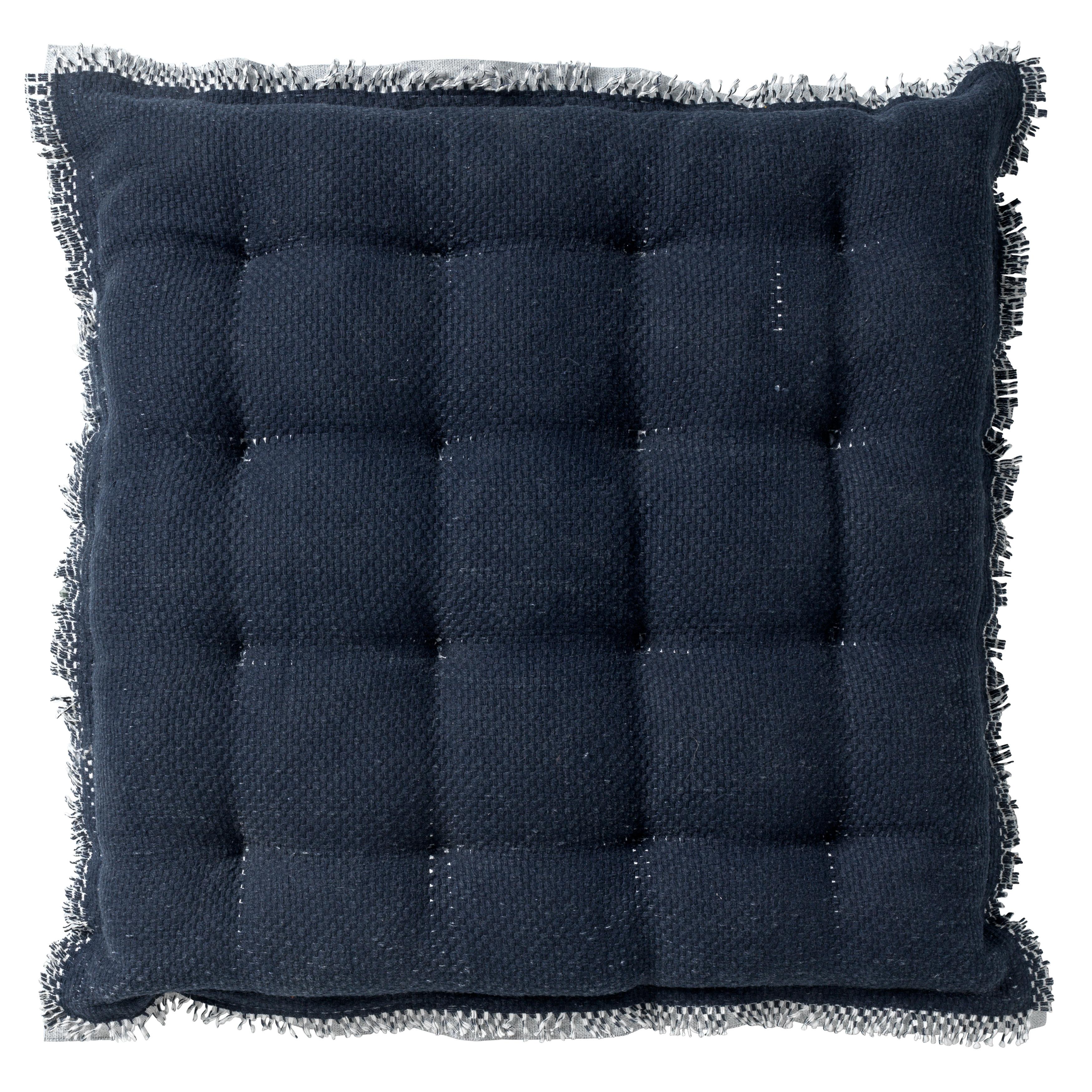 Coussin de sol en coton Bleu saphir 40x40