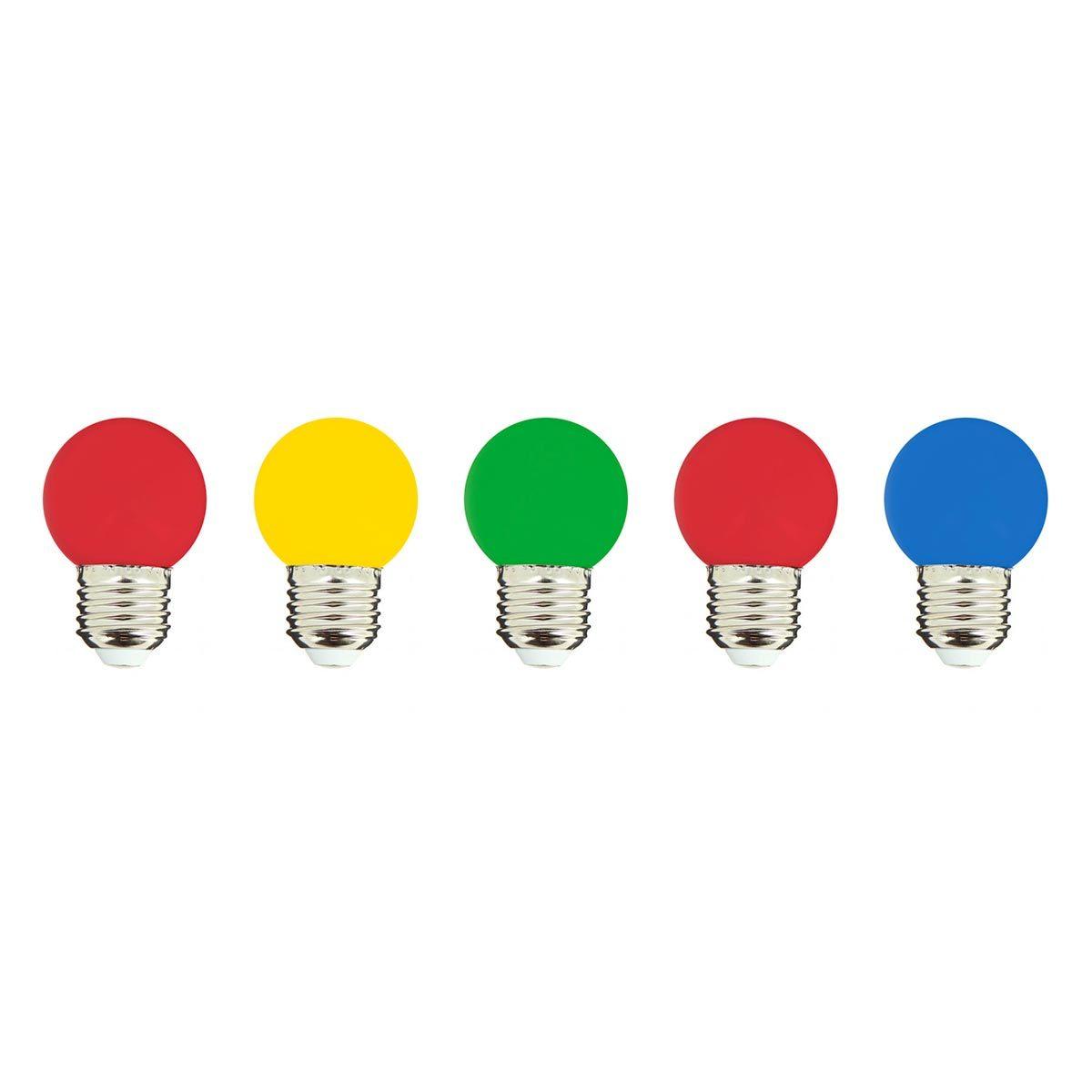 PARTY BULB COLOR-Lot de 5 ampoules LED plastique multicolore H7cm
