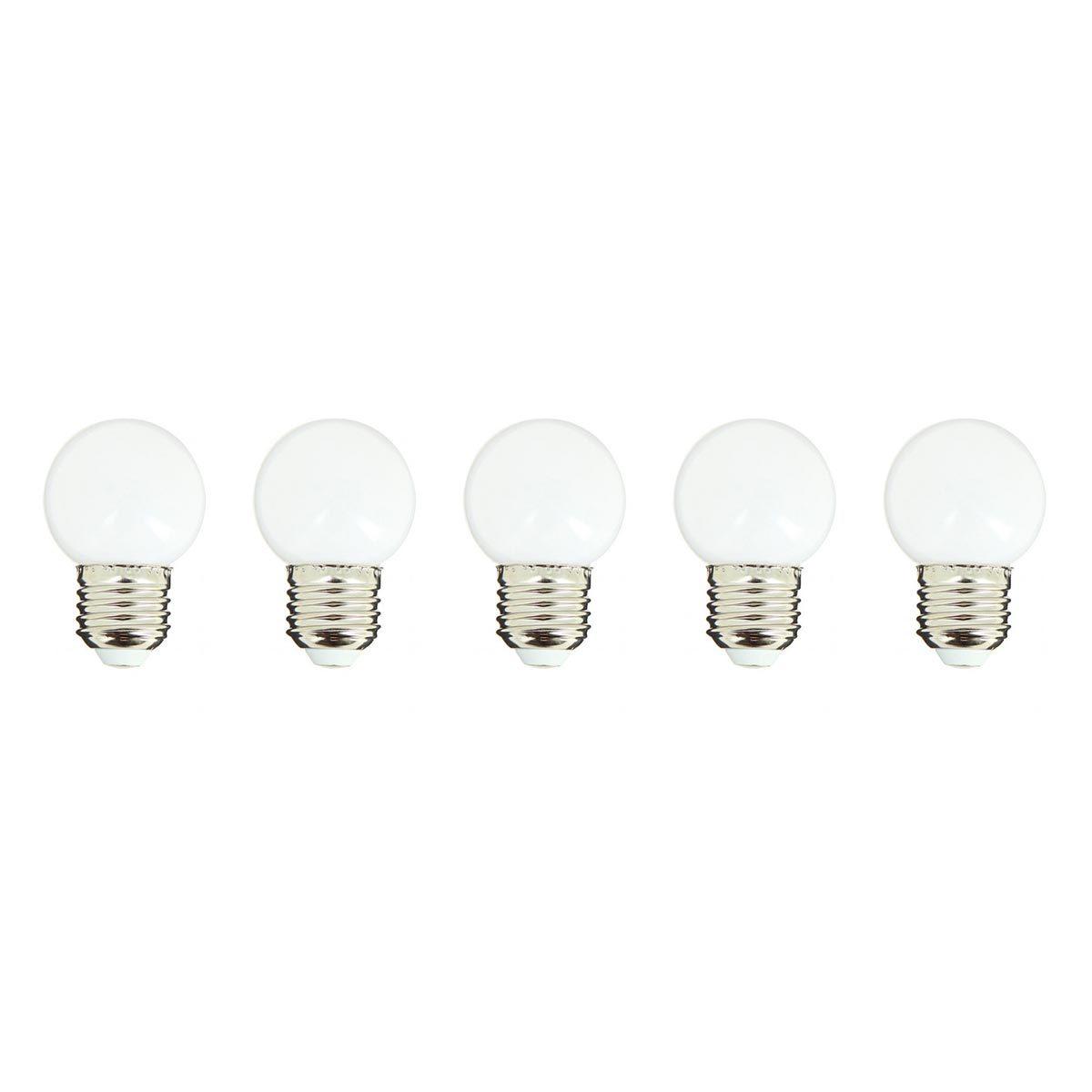 PARTY BULB WHITE-Lot de 5 ampoules LED E27 plastique blanc H7cm