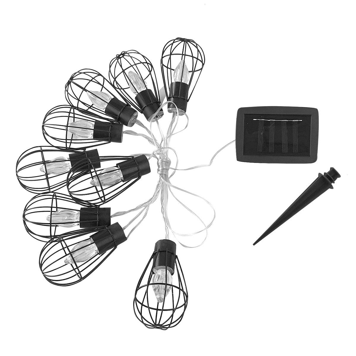 Guirlande lumineuse solaire cage acier noir 3.80m