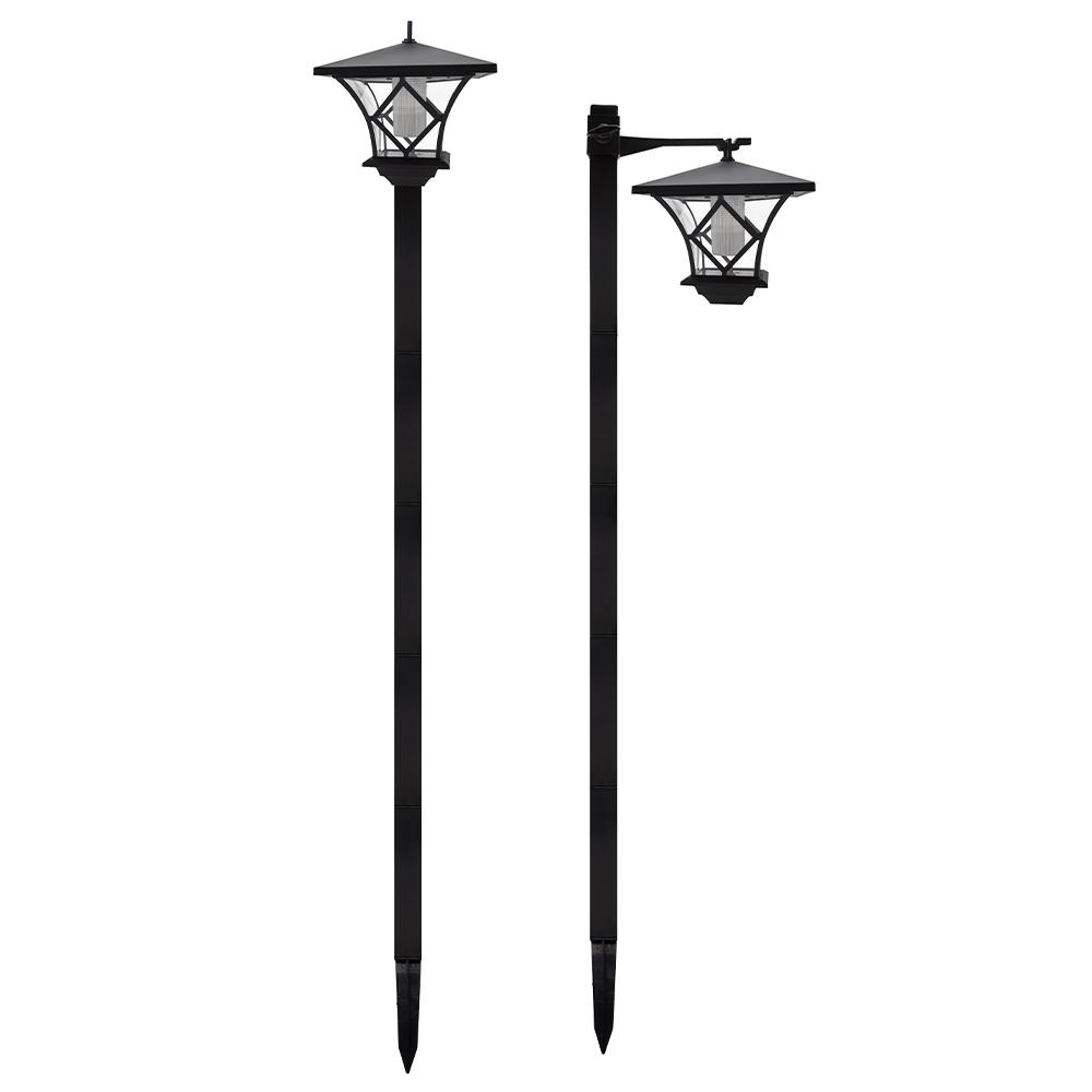 BRIXTON - Lot de 2 lampadaires solaires plastique noir H115cm