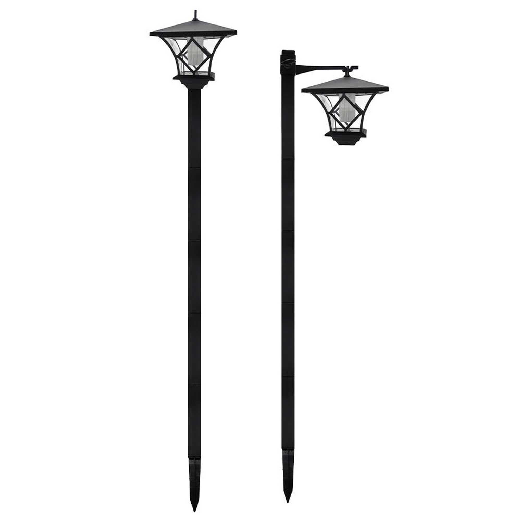 BRIXTON-Lot de 2 lampadaires solaires plastique noir H155cm