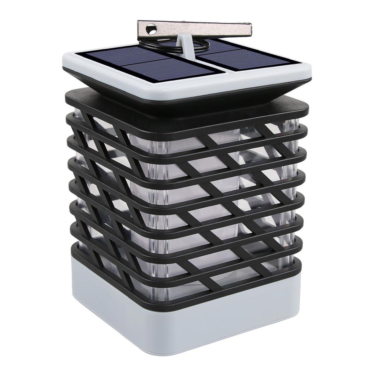 BRAISY-Lanterne solaire effet flamme plastique gris H18cm