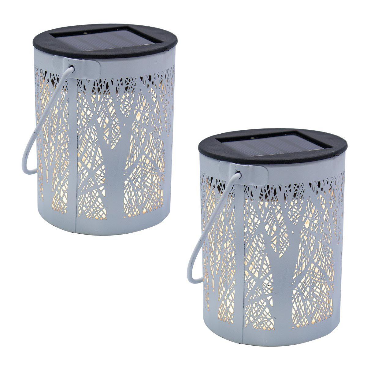 Lot de 2 lanternes solaires acier blanc H18cm