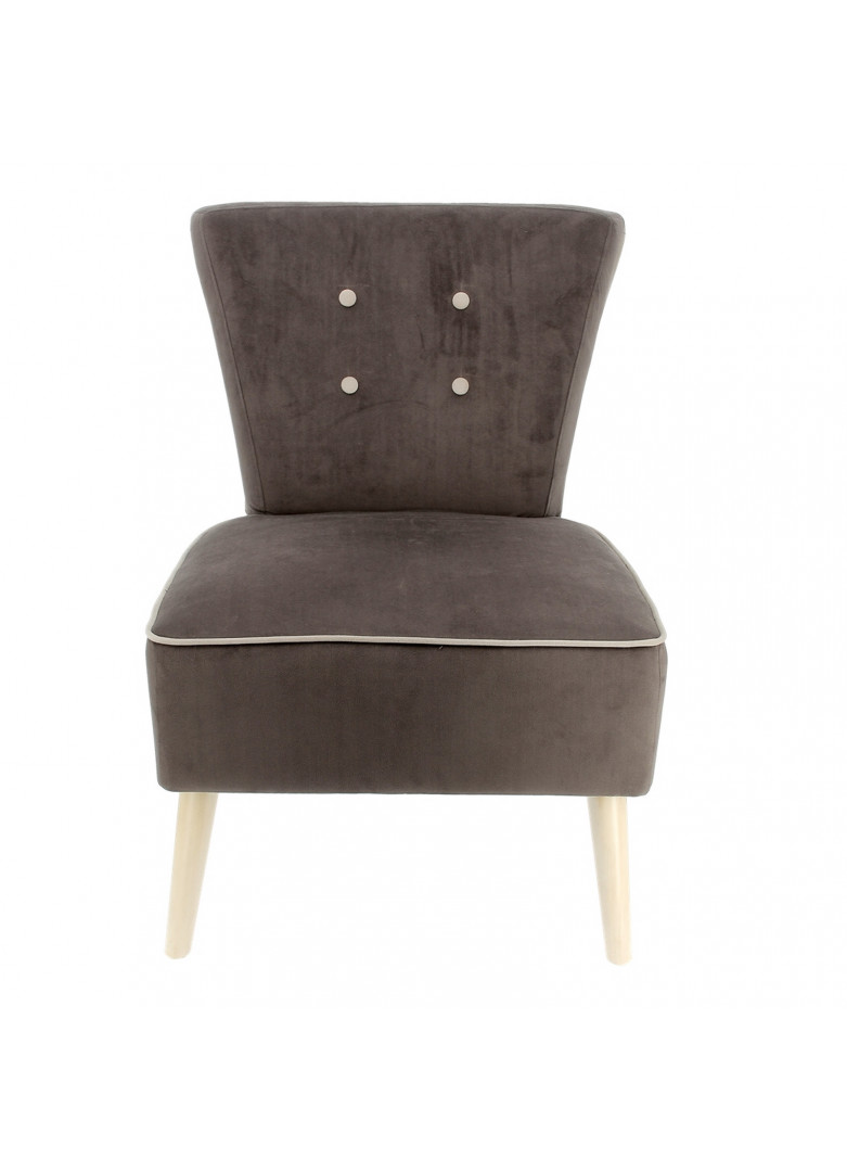 Chaise fauteuil velours taupe