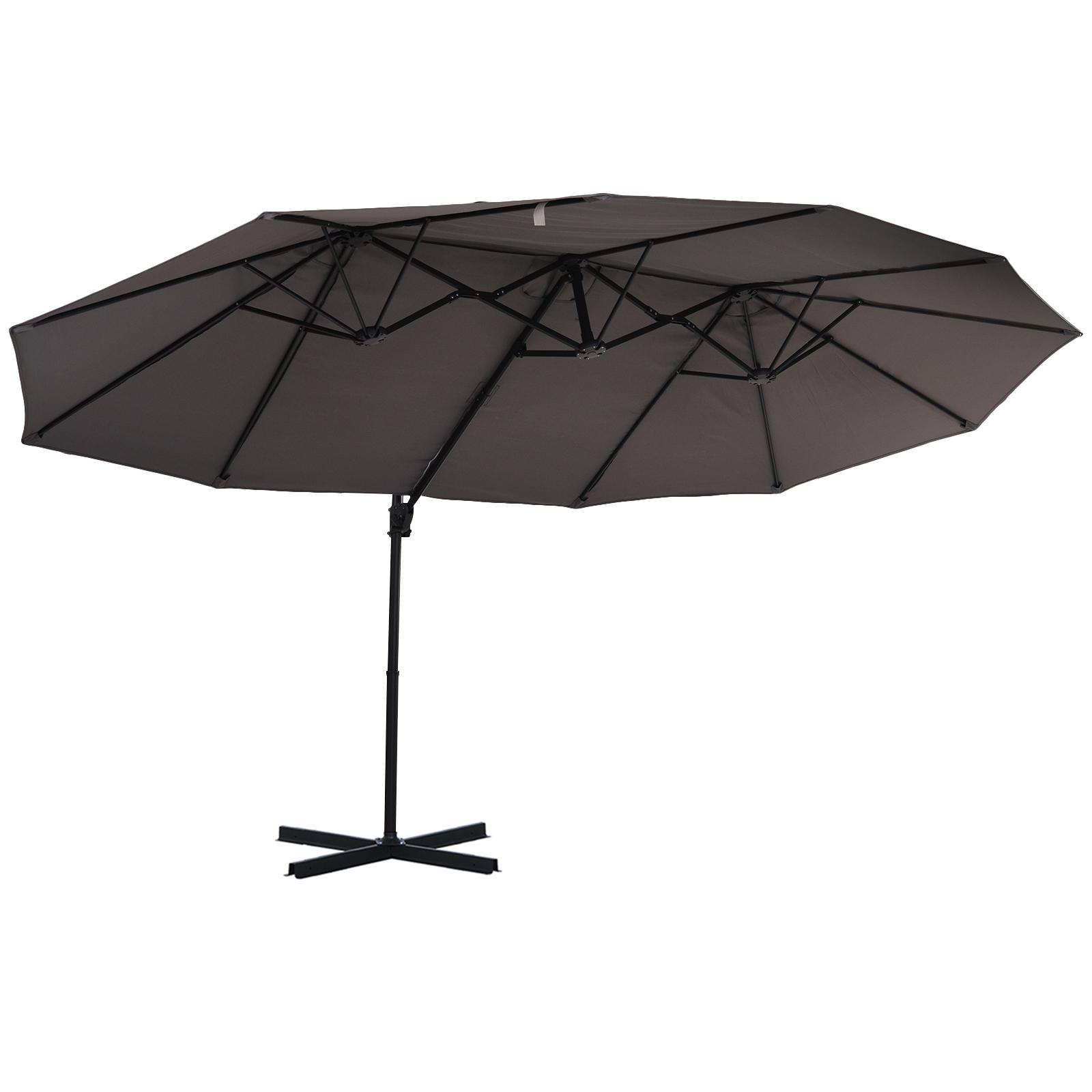 Parasol déporté grande taille inclinable gris