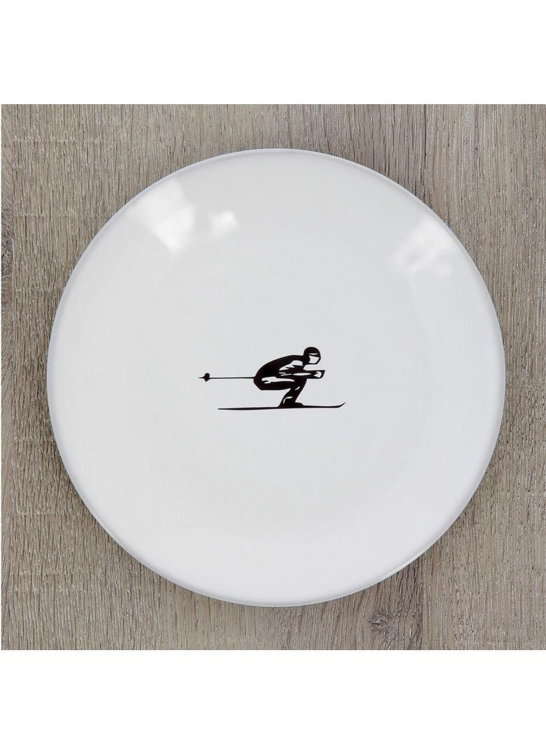 Assiette plate en céramique grise D19cm