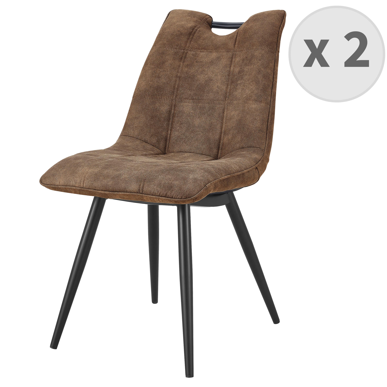 HANDY-Chaise Microfibre vintage brun pieds métal noir (x2)