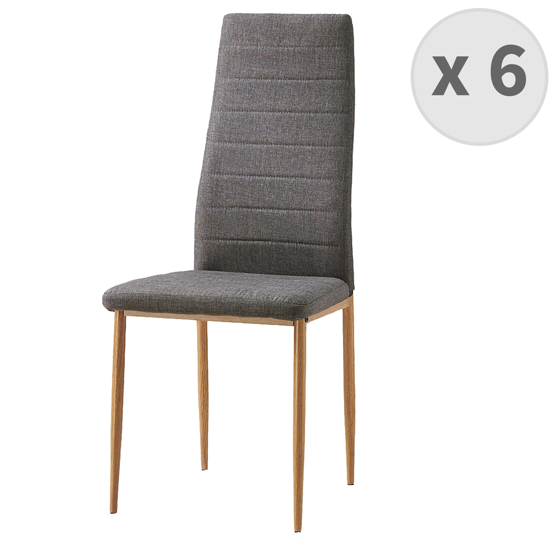 maison du monde Chaises de salle à manger tissu gris pieds effet bois (x6)
