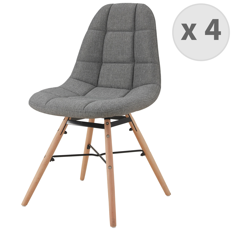 Chaise scandinave tissu gris pieds hêtre (x4)