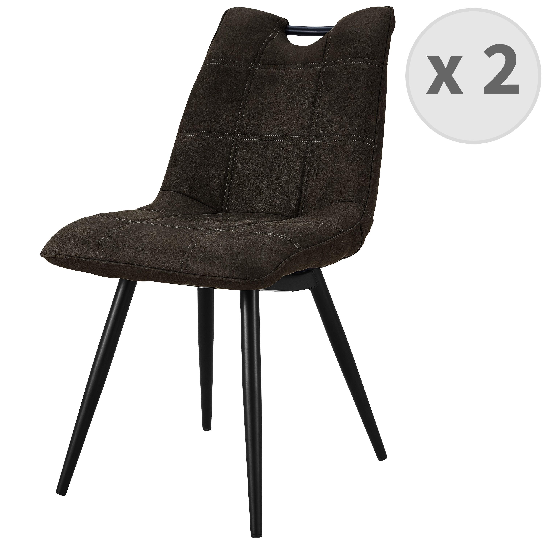 HANDY-Chaise Microfibre vintage Ebène pieds métal noir (x2)