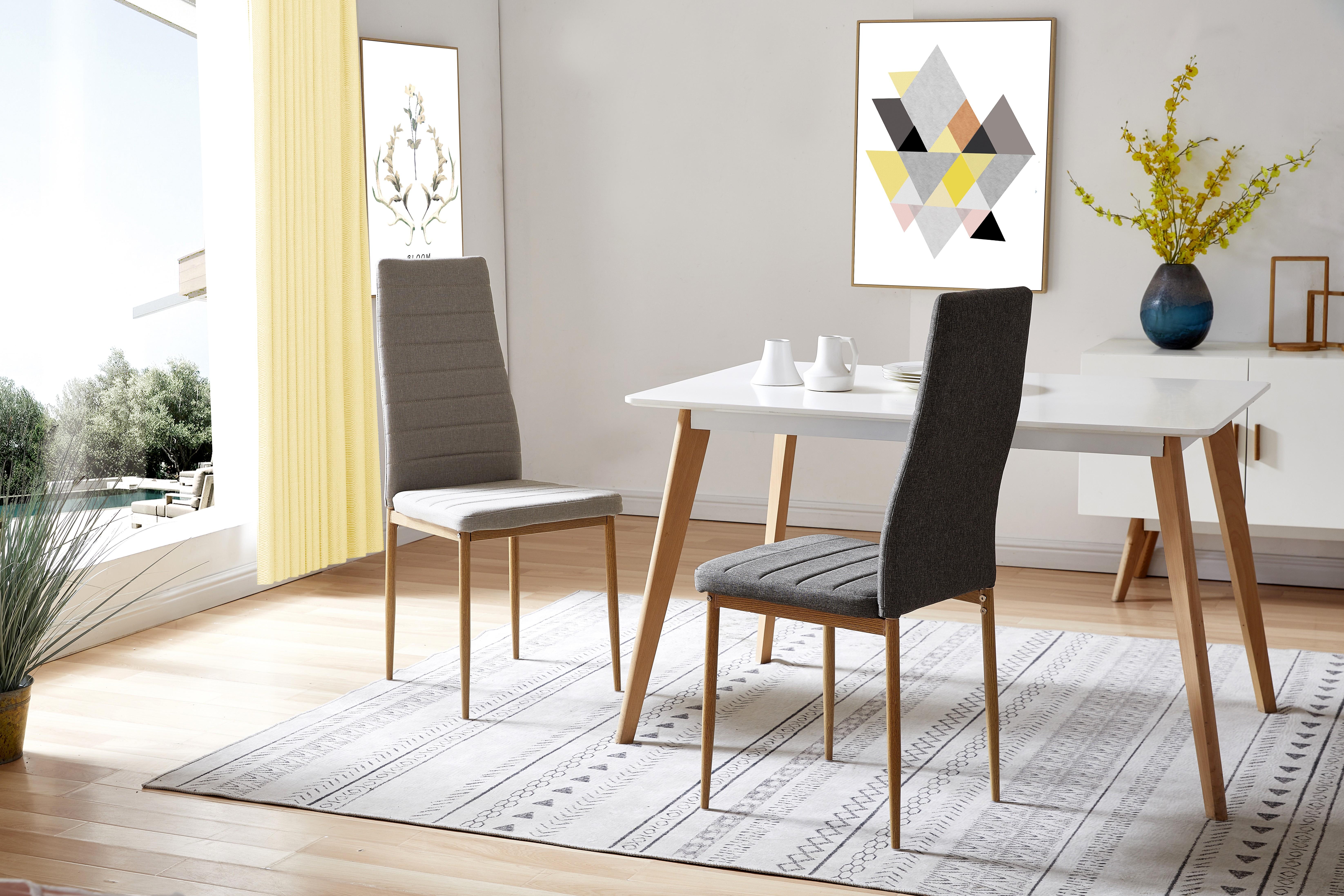 ANNA-Chaises de salle à manger tissu gris pieds effet bois (x4)
