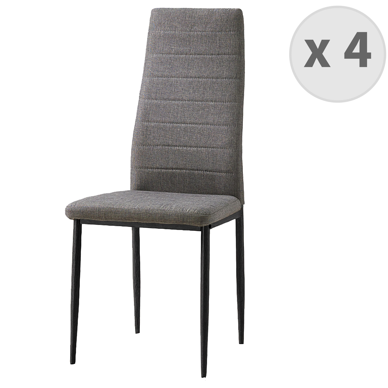 Chaise de salle à manger tissu gris pieds noir (x4)