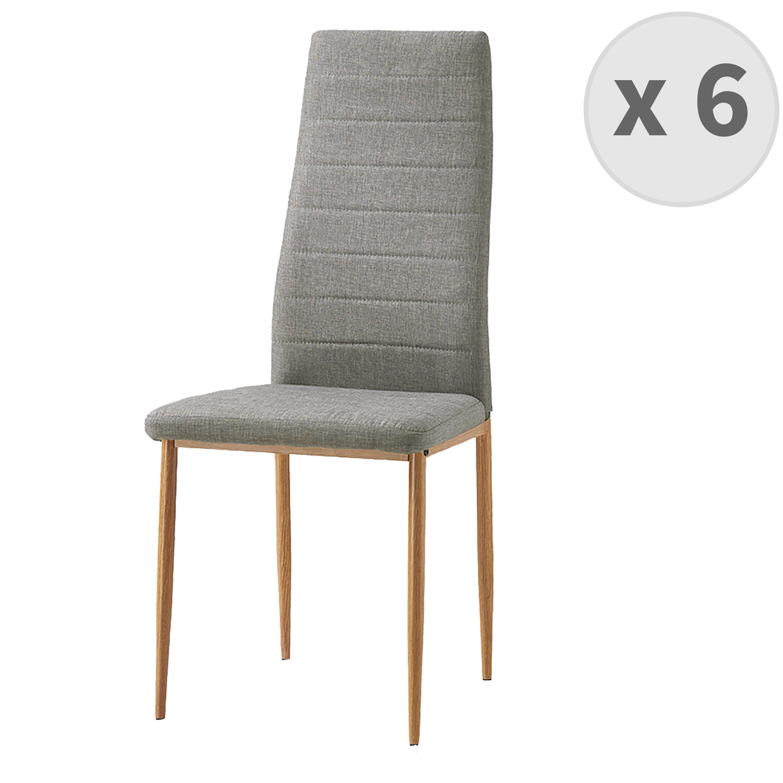 Chaise de salle à manger Tissu lin pieds effet bois (x6)