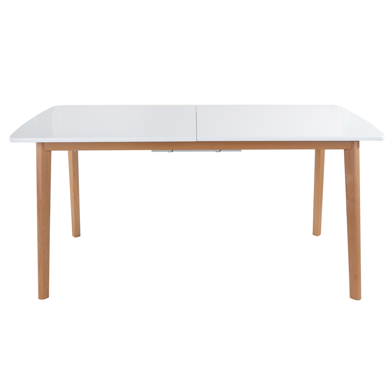 Table repas plateau blanc mat extensible pieds hêtre