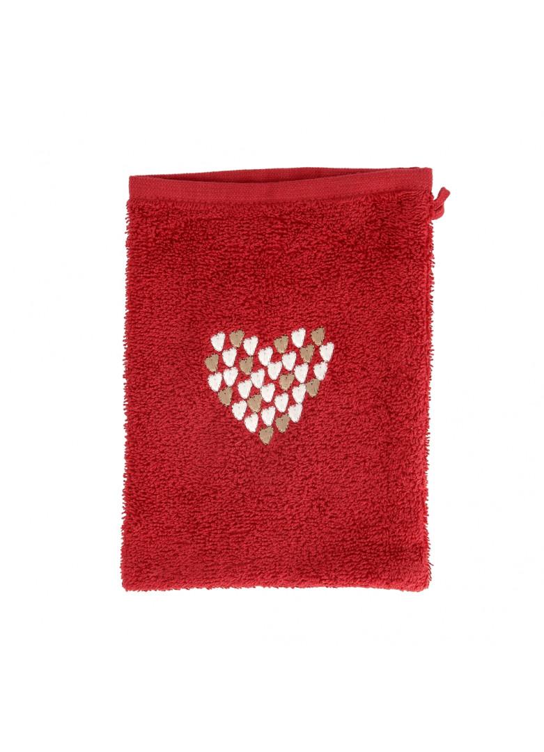 Gant de toilette en coton rouge