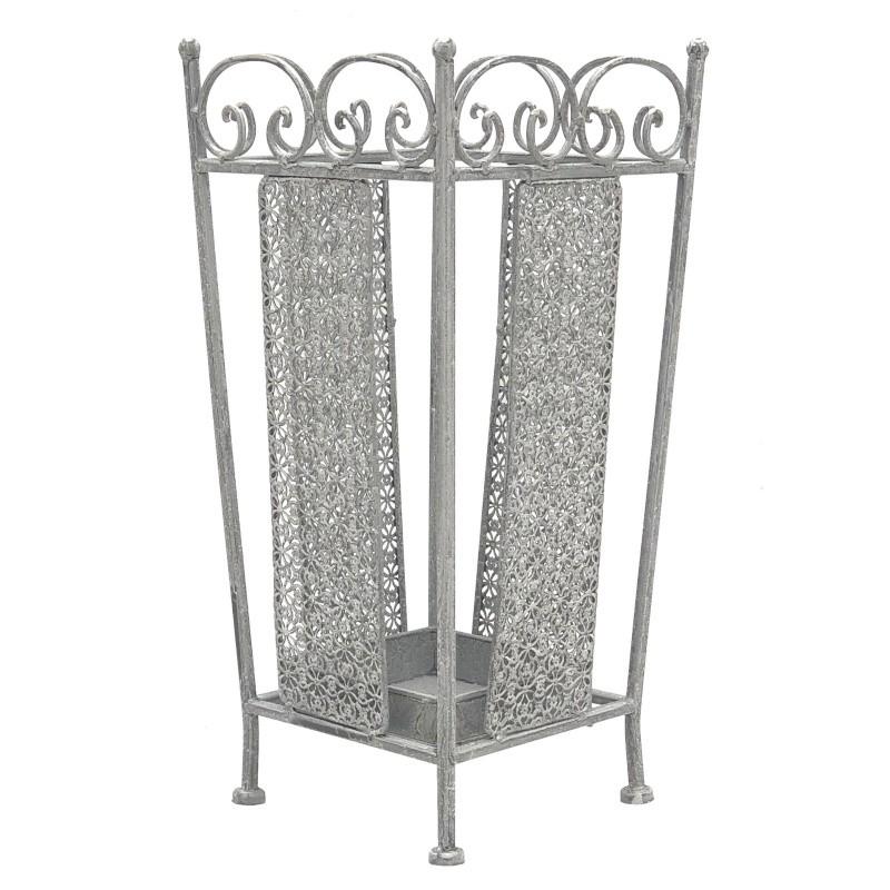 Porte parapluie carré fer métal patiné gris 50x24