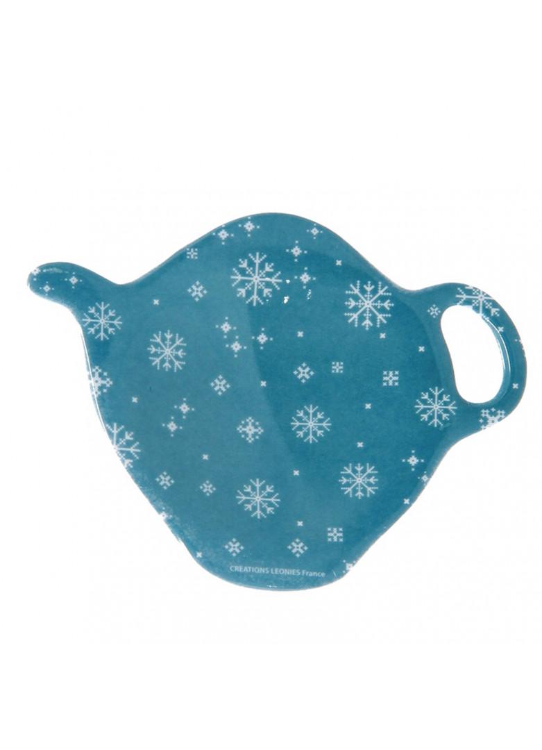 Repose sachet thé en céramique bleue
