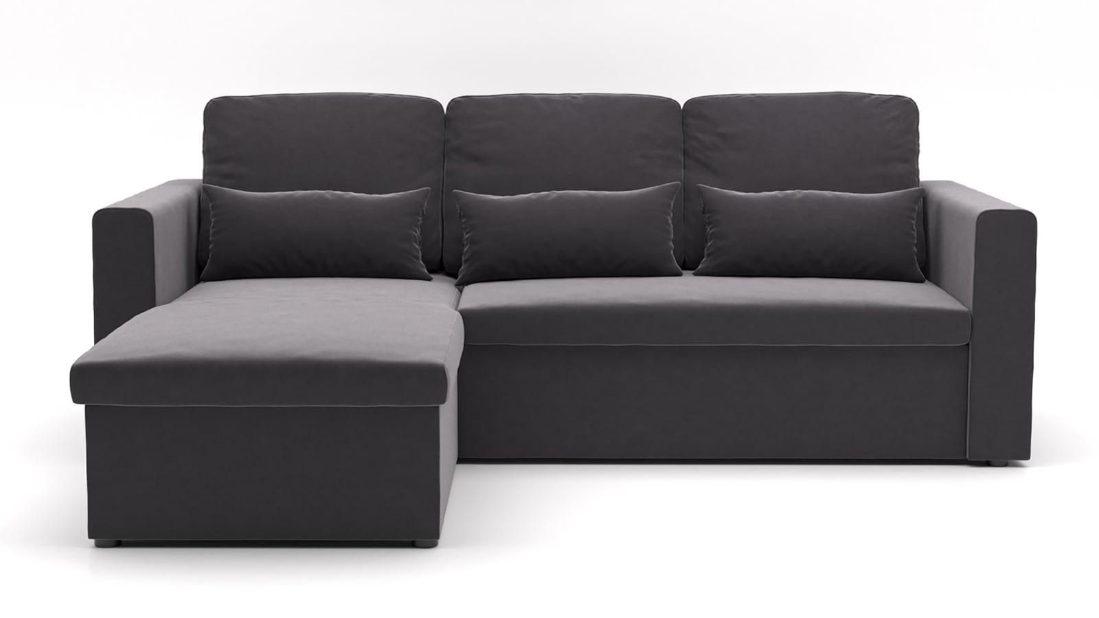Canapé d'angle réversible convertible 3 places en velours graphite