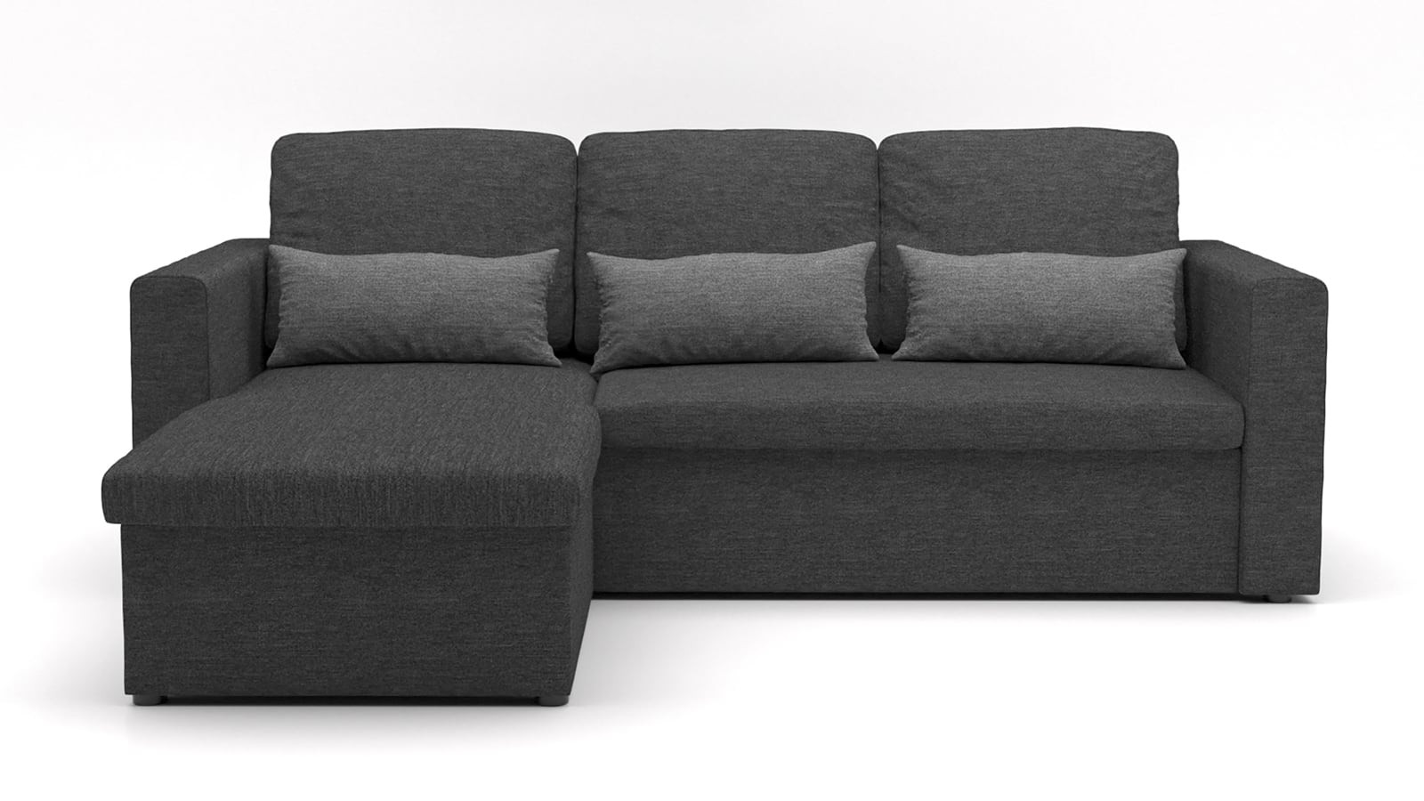 Canapé d'angle réversible convertible 3 places en tissu anthracite