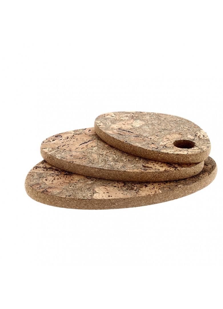 Set de 3 dessous de plat ovale en liège 33x22cm - 27x19cm - 23x16cm