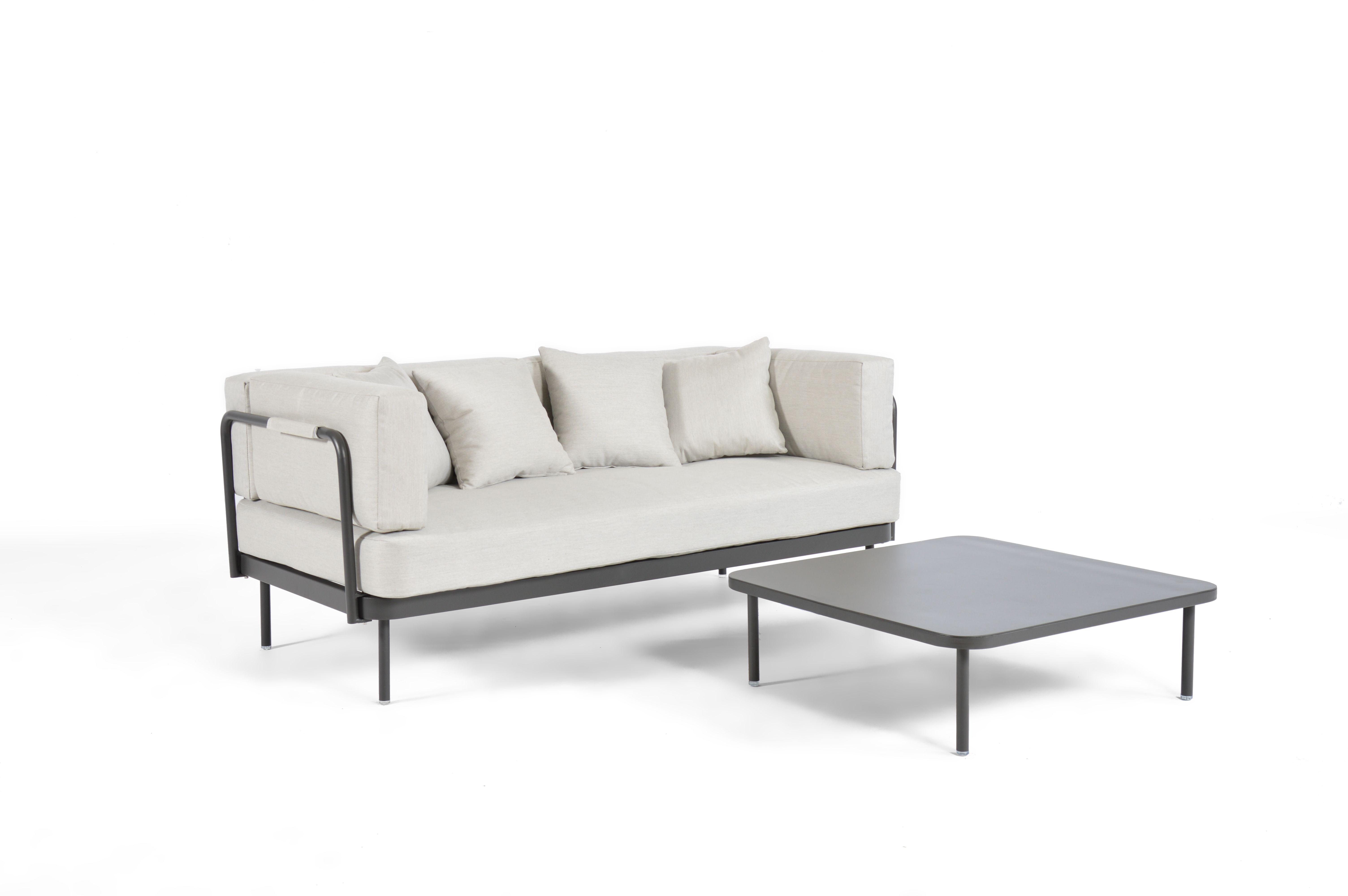 Salon de jardin 3 places en aluminium gris clair