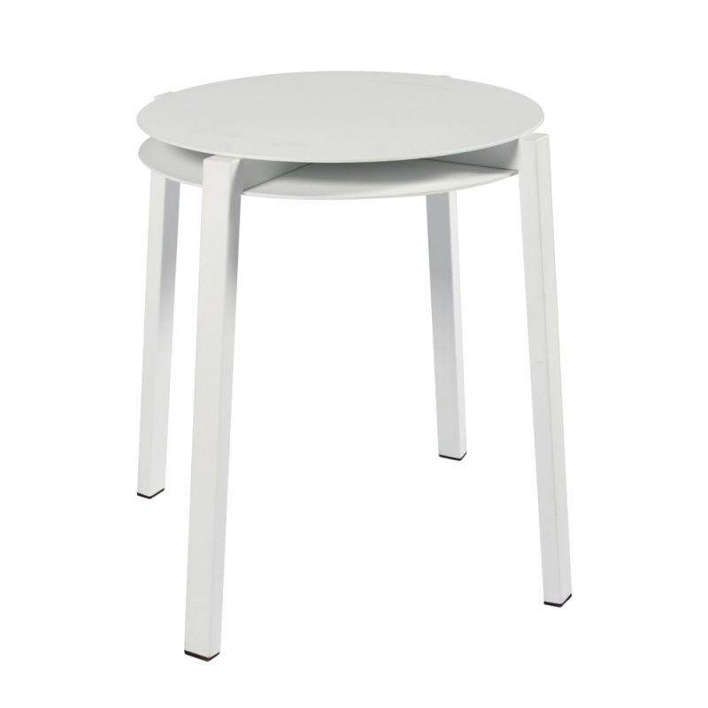 Tabouret ou table d'appoint empilable en aluminium blanc