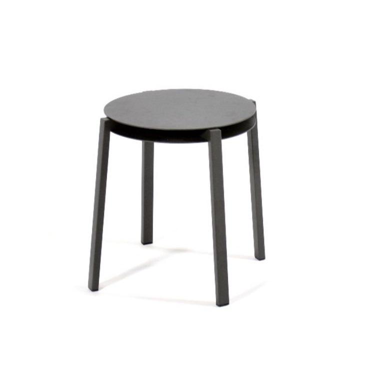 Tabouret ou table d'appoint empilable en aluminium gris