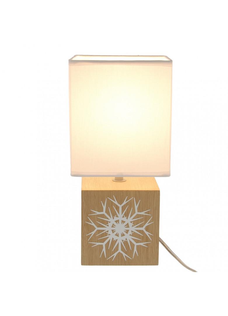 Lampe cubique bois abat-jour tissu blanc H32cm