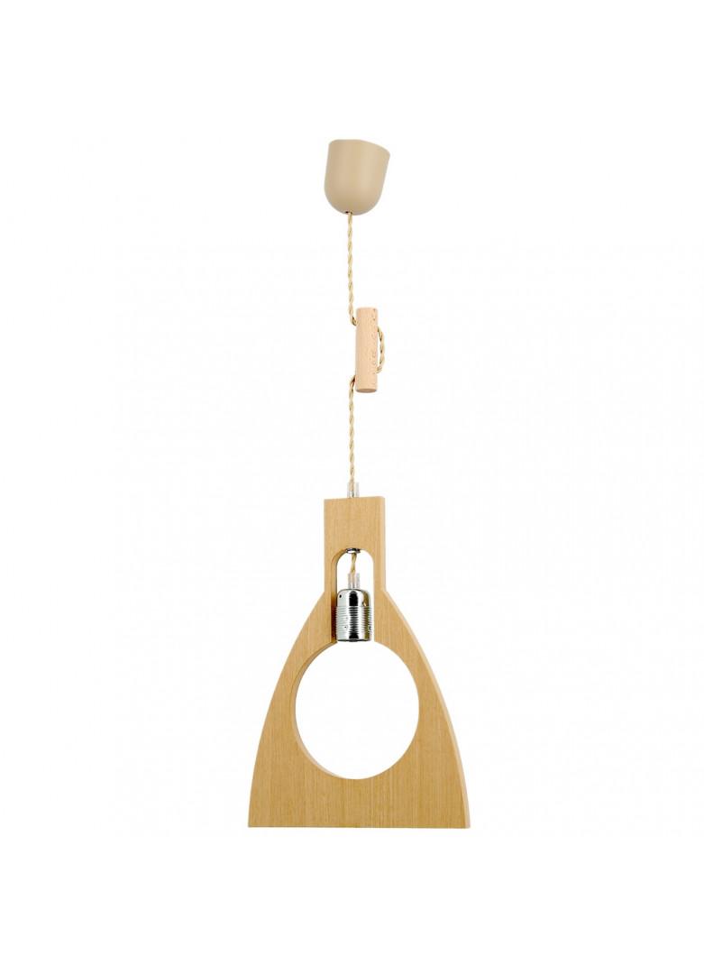 Suspension bois forme ampoule (sans ampoule) H34cm
