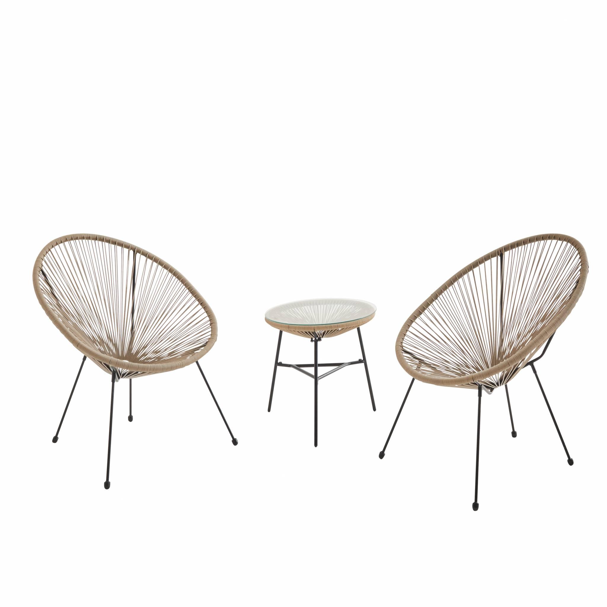Lot de 2 fauteuils forme d'œuf avec table d'appoint beige