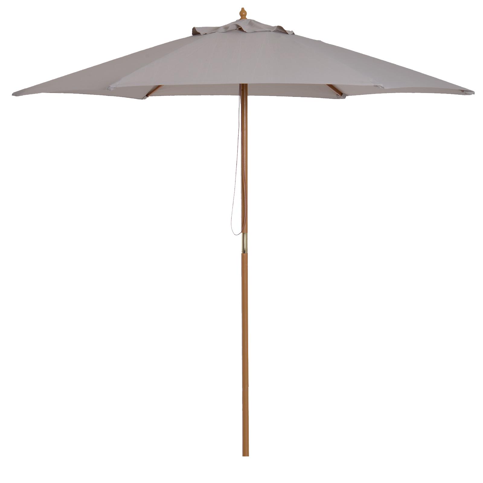 Parasol droit rond grande taille de jardin bambou gris D2,5cm