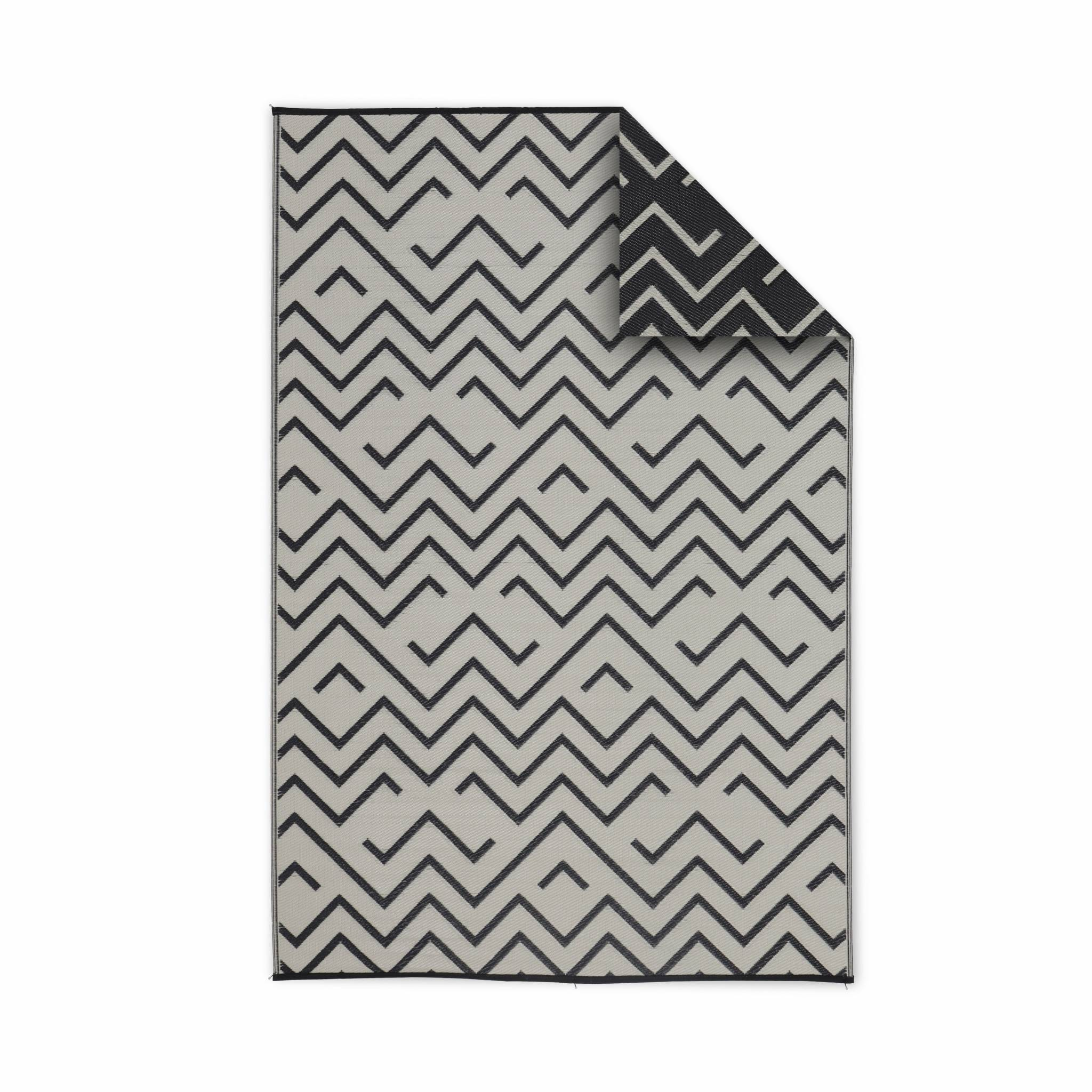 Tapis d'extérieur à motifs noir 180x270