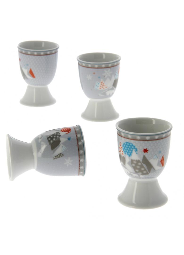Coquetier en porcelaine grise - Lot de 4