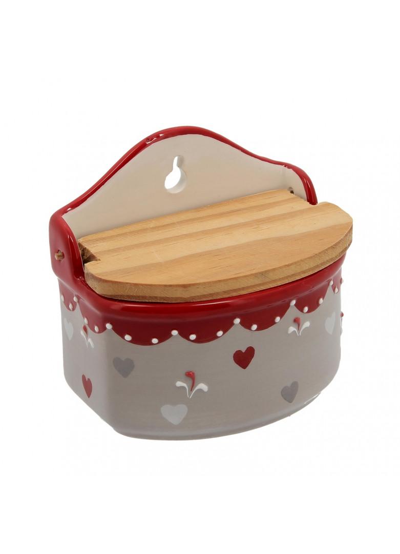 Pot à sel en céramique et bois
