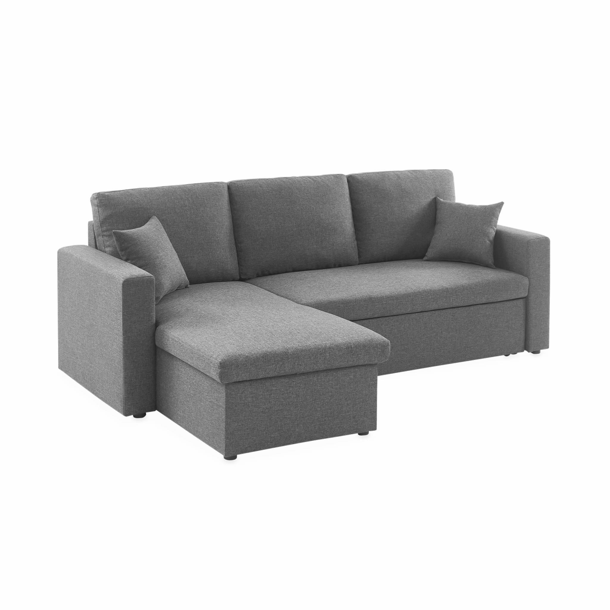 Canapé d'angle convertible 3 places en tissu gris chiné foncé