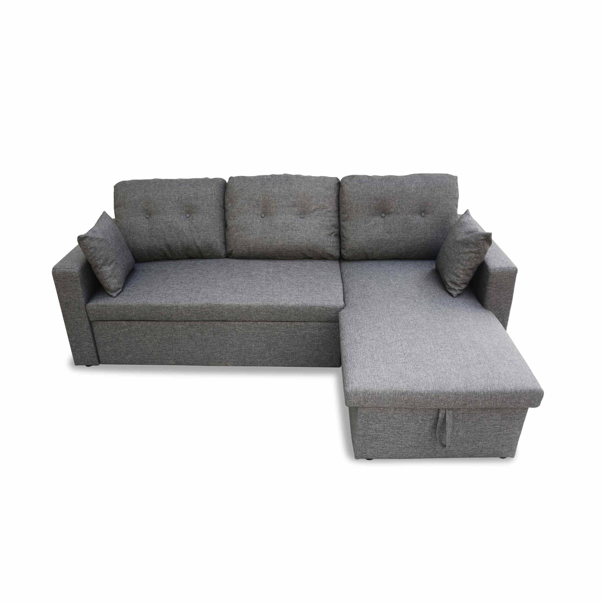 Canapé d'angle convertible en tissu gris chiné foncé - ida - 3 places