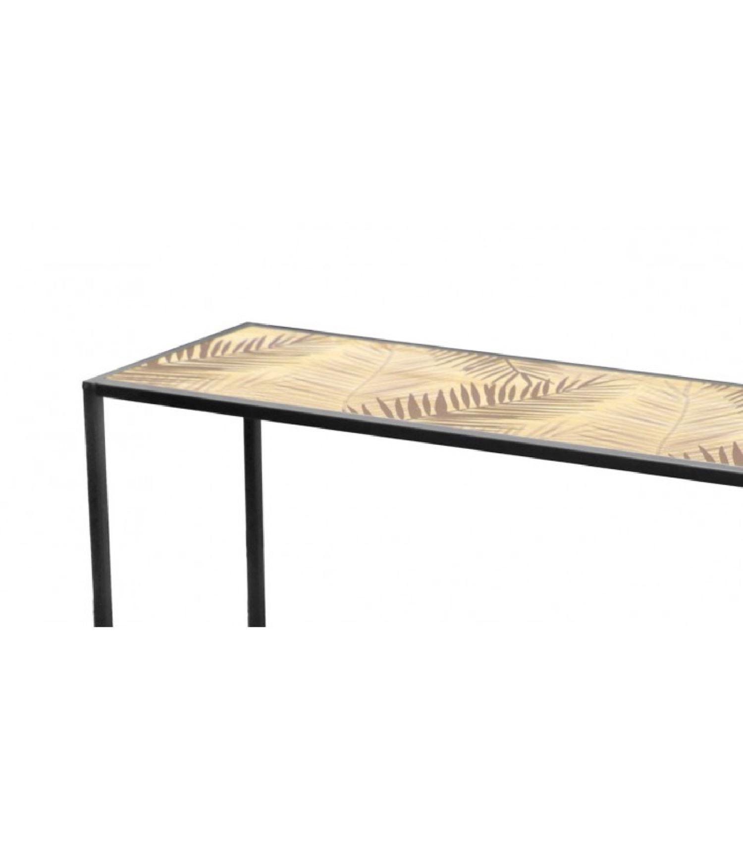 Console d'entrée en métal noir et bois motif palmiers L100cm