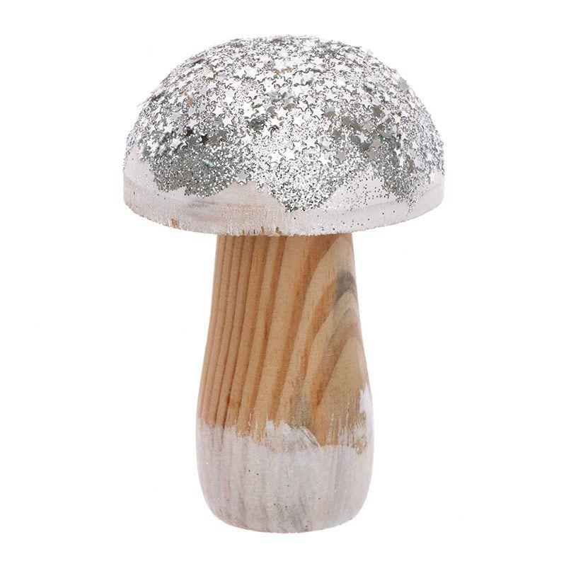 Petit champignon en bois argenté H10cm