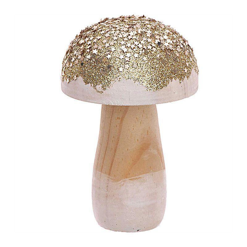Petit champignon en bois doré H10cm