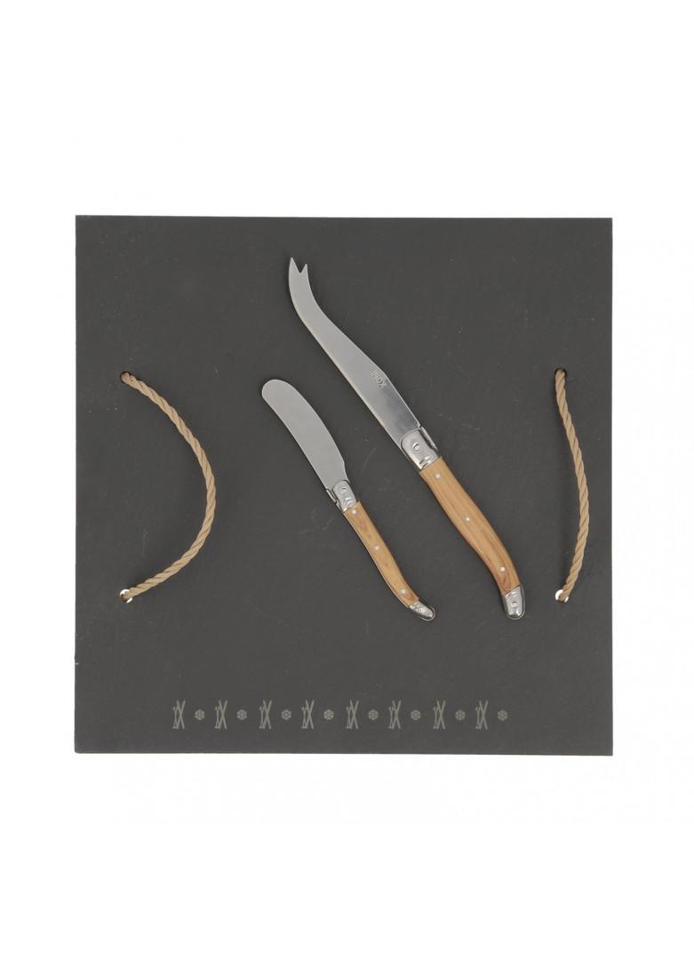 Ardoise à fromage gravée avec 2 couteaux 30x30cm