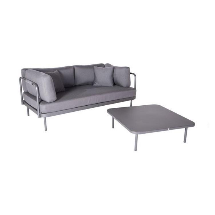 Salon de jardin aluminium 3 places gris anthracite