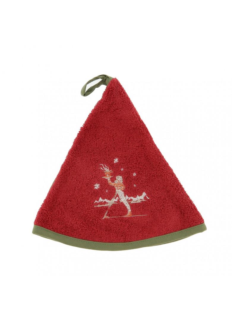 Torchon demi-lune en coton rouge 50cm