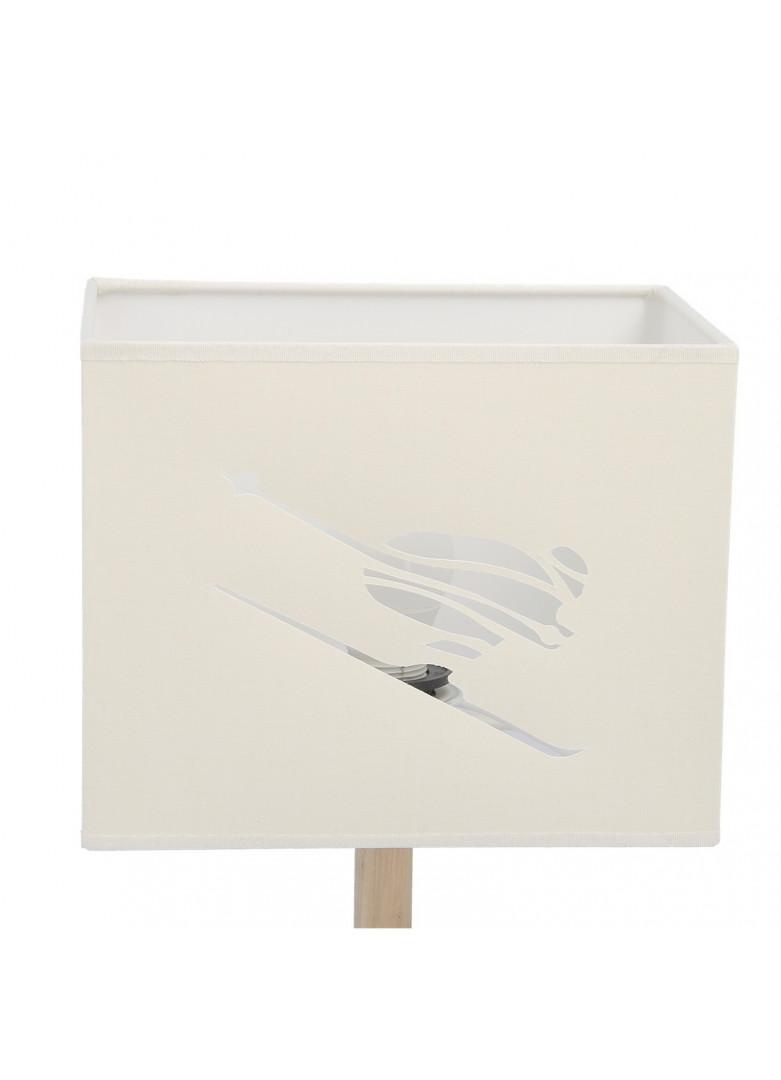 Abat-jour rectangulaire skieur en micro-découpe crème L20cm